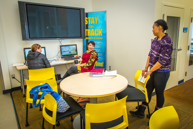 """Students socialize in the lounge at UAF's Northwest Campus in Nome.  <div class=""""ss-paypal-button"""">Filename: LIF-16-4865-353.jpg</div><div class=""""ss-paypal-button-end""""></div>"""