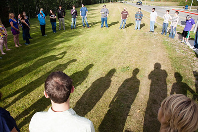 About forty resident assistants take part in a team building activity during their annual training Thursday, August 16, 2012 at the lawn in front of the MBS Complex. About 40 RAs attended the training before students attending the fall semester enter the residence halls.  Filename: LIF-12-3498-1.jpg