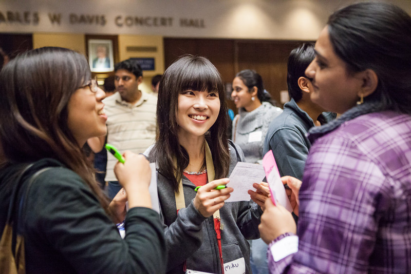 """Miku Furuzono of Japan meets other international students during an icebreaker activity engaging students to meet others at the International Welcome Mixer Wednesday, July 29, 2012 at the UAF Great Hall, Fine Arts Complex.  <div class=""""ss-paypal-button"""">Filename: LIF-12-3524-7.jpg</div><div class=""""ss-paypal-button-end"""" style=""""""""></div>"""
