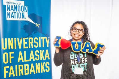 Prospective students take a portrait during the summer 2016 Inside Out event hosted by the UAF's Office of Admissions and the Registrar.  Filename: LIF-16-4926-11.jpg