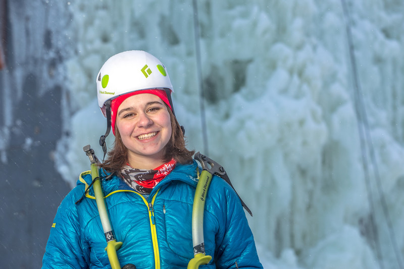 """Outdoor enthusiast Michelle Klaben gets ready to tackle the ice climbing wall which is part of UAF's Terrain Park on a snowy afternoon.  <div class=""""ss-paypal-button"""">Filename: LIF-13-3721-233.jpg</div><div class=""""ss-paypal-button-end"""" style=""""""""></div>"""