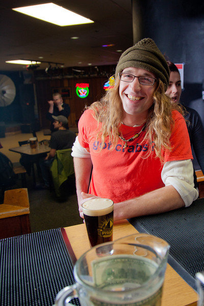 "Chris Kasanke gets ready to enjoy a cold beer after class in UAF's Wood Center Pub.  <div class=""ss-paypal-button"">Filename: LIF-11-3217-136.jpg</div><div class=""ss-paypal-button-end"" style=""""></div>"