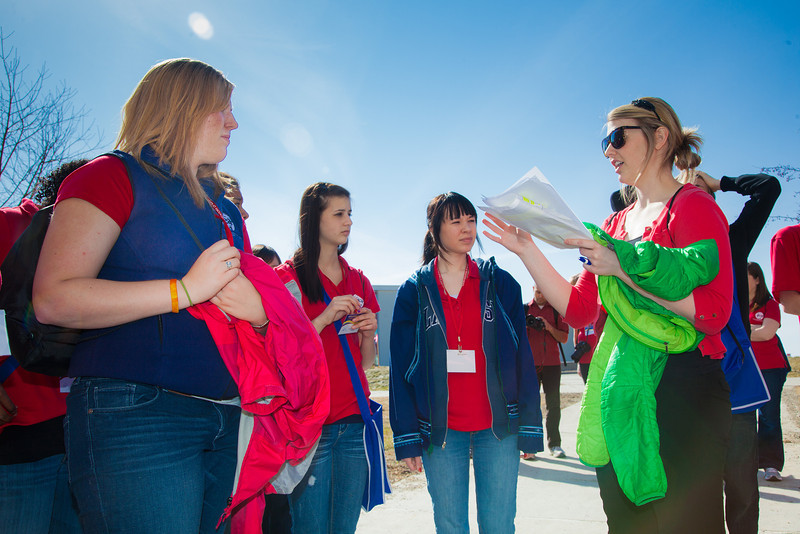"""UAF Admissions Counselor Caitlin Kaber leads members of Future Educators of America on a campus tour.  <div class=""""ss-paypal-button"""">Filename: LIF-12-3356-68.jpg</div><div class=""""ss-paypal-button-end"""" style=""""""""></div>"""