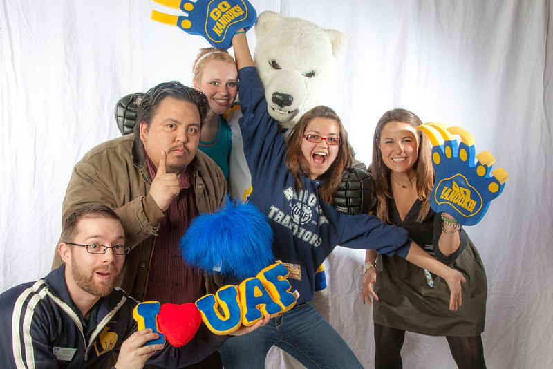 """Staff and students pose with the Nanook mascot during UAF's InsideOut event.  <div class=""""ss-paypal-button"""">Filename: LIF-12-3334-114.jpg</div><div class=""""ss-paypal-button-end"""" style=""""""""></div>"""