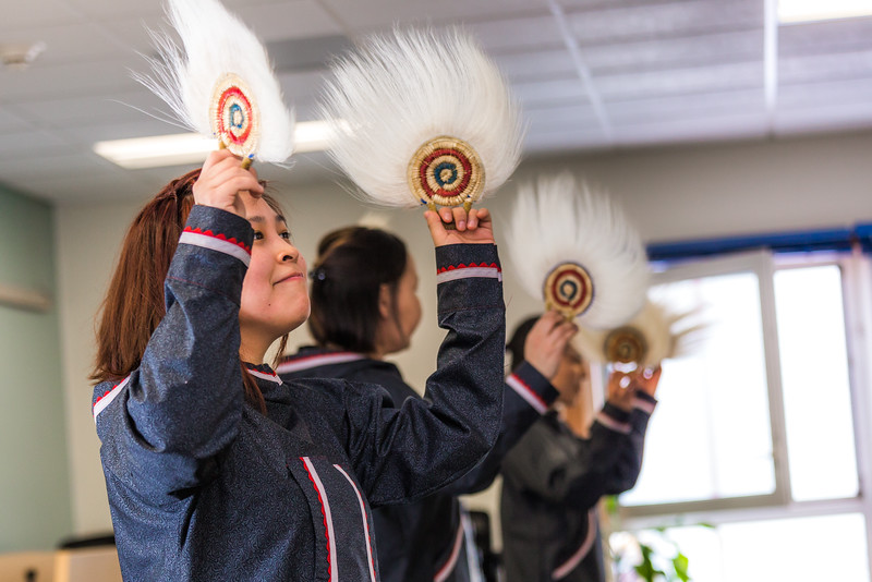 "Amanda Andrew and other members of the KuC Yuraq Dance Group practice in the school's conference room on March 30, 2016 in preparation for their upcoming appearance at the Cama-i Dance Festival in Bethel.  <div class=""ss-paypal-button"">Filename: LIF-16-4859-367.jpg</div><div class=""ss-paypal-button-end""></div>"