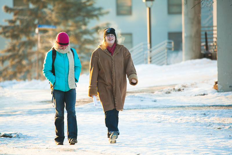 "Nicole Warner, left, and Cece Missik walks around campus on a cold November afternoon.  <div class=""ss-paypal-button"">Filename: LIF-12-3667-2.jpg</div><div class=""ss-paypal-button-end"" style=""""></div>"