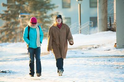 Nicole Warner, left, and Cece Missik walks around campus on a cold November afternoon.  Filename: LIF-12-3667-2.jpg