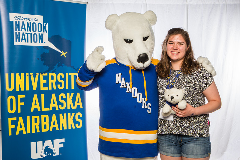 """Prospective students take a portrait during the summer 2016 Inside Out event hosted by the UAF's Office of Admissions and the Registrar.  <div class=""""ss-paypal-button"""">Filename: LIF-16-4926-49.jpg</div><div class=""""ss-paypal-button-end""""></div>"""