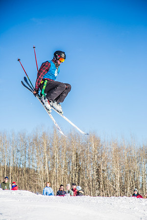 UAF students and local high schoolers signed up to compete in the inaugural si and snowboard jump competition on the new terrain park in March, 2013.  Filename: LIF-13-3750-201.jpg