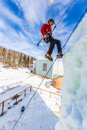 Engineering major Ryan Kudo enjoys a late season climb up the UAF ice wall on April 4.  Filename: LIF-14-4132-131.jpg