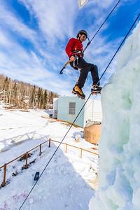 Engineering major Ryan Kudo enjoys a late season climb up the UAF ice wall on April 4.  Filename: LIF-14-4132-131.jpg