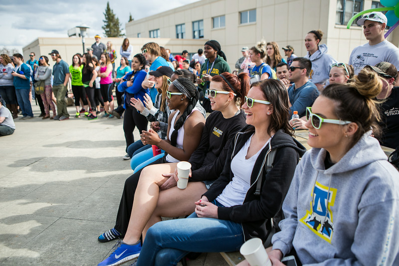 """Students crowd around the dance stage during the 2014 Spring Fest Dance Off at the Wood Center balcony.  <div class=""""ss-paypal-button"""">Filename: LIF-14-4161-1.jpg</div><div class=""""ss-paypal-button-end""""></div>"""