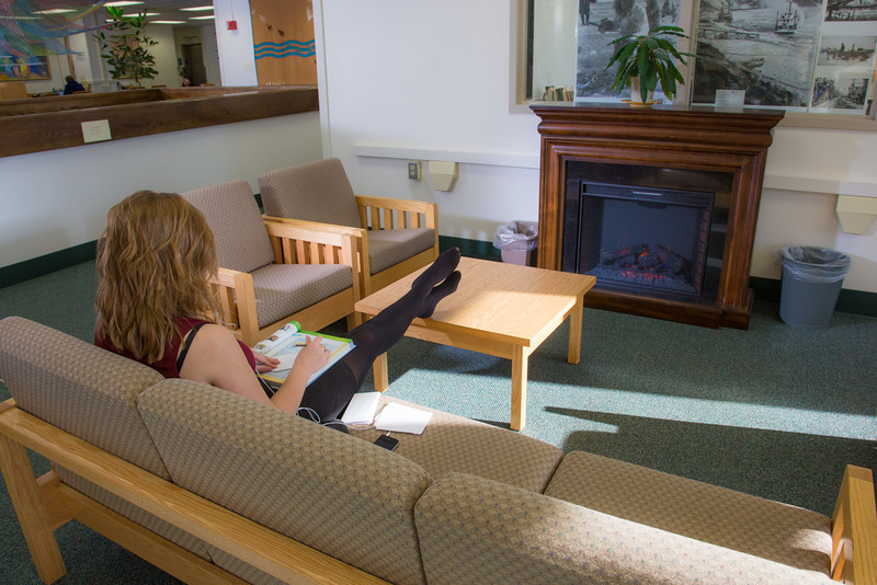 "Music education major Anna Polum finds a comfortable spot to study in the Rasmuson Library.  <div class=""ss-paypal-button"">Filename: LIF-13-3950-57.jpg</div><div class=""ss-paypal-button-end"" style=""""></div>"