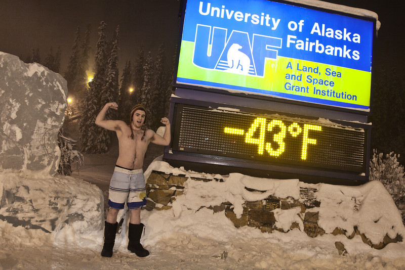 "Frigid temperatures greet students as the spring semester gets started this week on campus. In this photo, Jack Hughes-Hageman joined the fabled -40° below club Saturday night. The forecast calls for very cold temperatures continuing throughout the week.  <div class=""ss-paypal-button"">Filename: LIF-12-3255-14.jpg</div><div class=""ss-paypal-button-end"" style=""""></div>"