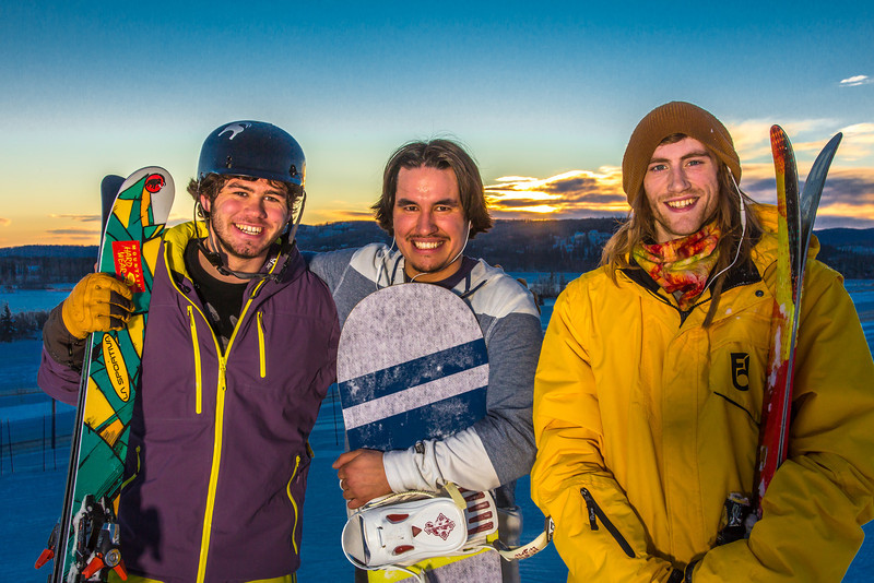 """Student employees Logan Pitney, left, Frank Dayo and Cal Whitehill are all smiles after testing some of the new features of UAF's terrain park.  <div class=""""ss-paypal-button"""">Filename: LIF-13-3746-87.jpg</div><div class=""""ss-paypal-button-end"""" style=""""""""></div>"""