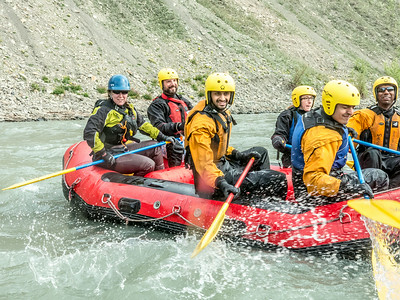 Students and staff members enjoy raft trip down the Nenana River led by UAF Outdoor Adventures in June, 2014.  Filename: OUT-14-4211-126.jpg
