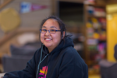 Theresa Hooper, a freshman from Tununak, relaxes after class in the Sacket Hall dining room on UAF's Kuskokwim Campus in Bethel.  Filename: LIF-16-4859-026.jpg