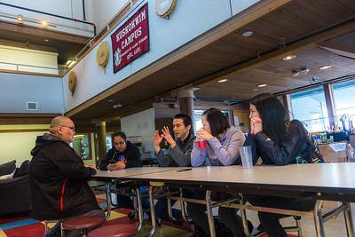 Students relax after class in the Sacket Hall dining room on UAF's Kuskokwim Campus in Bethel.  Filename: LIF-16-4859-055.jpg
