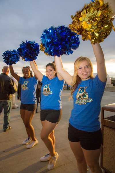 """The UAF cheerleaders drum up excitement before the annual Blue/Gold hockey game held in the Patty Ice Arena Sept. 29.  <div class=""""ss-paypal-button"""">Filename: LIF-12-3570-079.jpg</div><div class=""""ss-paypal-button-end"""" style=""""""""></div>"""