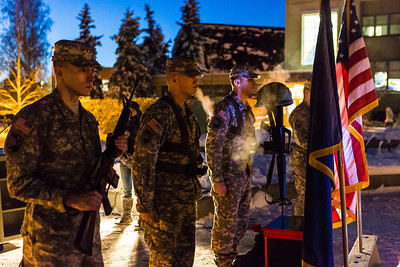 University of Alaska Fairbanks Army ROTC cadets retire the colors at the Veterans Day Memorial Roll Call after volunteers read 6,635 names of service members killed in action while serving in Iraq and Afghanistan, Nov. 11, 2013, at Constitution Park.  Filename: LIF-13-4035-179.jpg