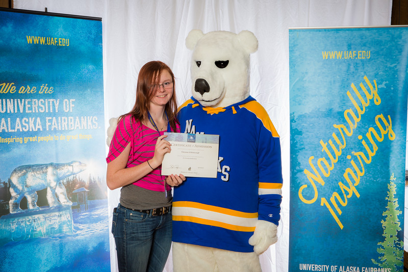 """Prospective students pose with the UAF mascot during the Fall 2015 Inside Out event hosted by UAF's office of admissions and the registrar.  <div class=""""ss-paypal-button"""">Filename: LIF-14-4353-85.jpg</div><div class=""""ss-paypal-button-end""""></div>"""