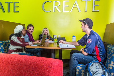 Students mingle and study in the Nook computer lounge in the Bunnell Building on the Fairbanks campus.  Filename: LIF-13-3987-35.jpg