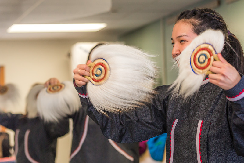 """Larissa Flynn and other members of the KuC Yuraq Dance Group practice in the school's conference room on March 30. Flynn is a certificate pre-nursing student from Chefornak and a resident of Sackett Hall on the Kuskokwim Campus.  <div class=""""ss-paypal-button"""">Filename: LIF-16-4859-396.jpg</div><div class=""""ss-paypal-button-end""""></div>"""