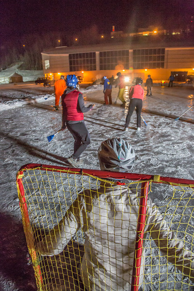 """Outdoor broomball, played on the ice in front of the SRC, is a popular intramural sport at UAF.  <div class=""""ss-paypal-button"""">Filename: LIF-12-3652-197.jpg</div><div class=""""ss-paypal-button-end"""" style=""""""""></div>"""