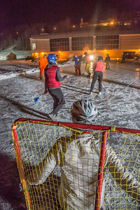 Outdoor broomball, played on the ice in front of the SRC, is a popular intramural sport at UAF.  Filename: LIF-12-3652-197.jpg