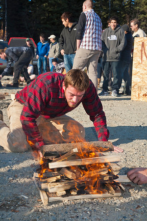 Engineering student Joe Hunner participated in the 2011 Farthest North Forest Sports Festival hosted by the UAF School of Natural Resources & Agricultural Sciences.  Filename: LIF-11-3185-209.jpg
