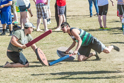 Participants had to battle on their knees for one of the events that took place during SpringFest Field Day April 28.  Filename: LIF-14-4168-152.jpg