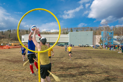 Participants in the quidditch club, UAF's newest intramural sport, play a competitive match during SpringFest 2012.  Filename: LIF-12-3382-75.jpg