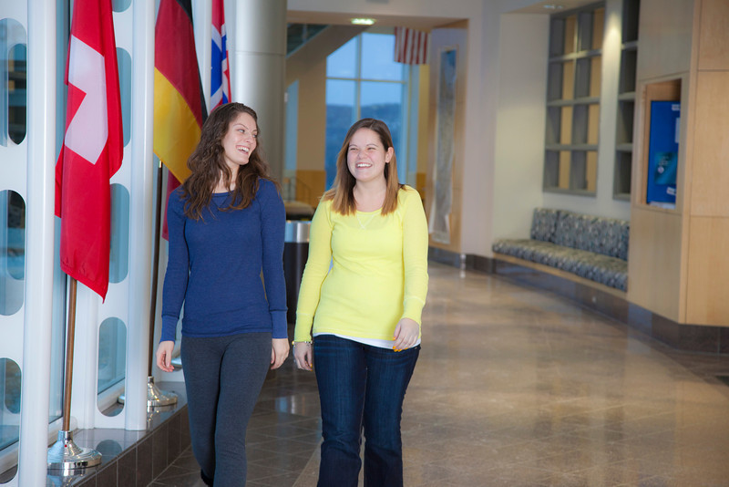 "Megan Gilmore (right)and Ashley Bartolowits (left) walk in the hallway of the Syun-Ichi Akasofu building on campus.  <div class=""ss-paypal-button"">Filename: LIF-11-3242-031.jpg</div><div class=""ss-paypal-button-end"" style=""""></div>"