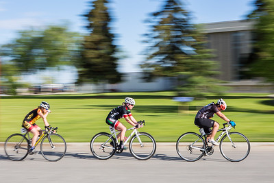 Participants in the 2016 Tour of Fairbanks speed across the Fairbanks campus during a stage race Friday, June 10.  Filename: LIF-16-4921-11.jpg