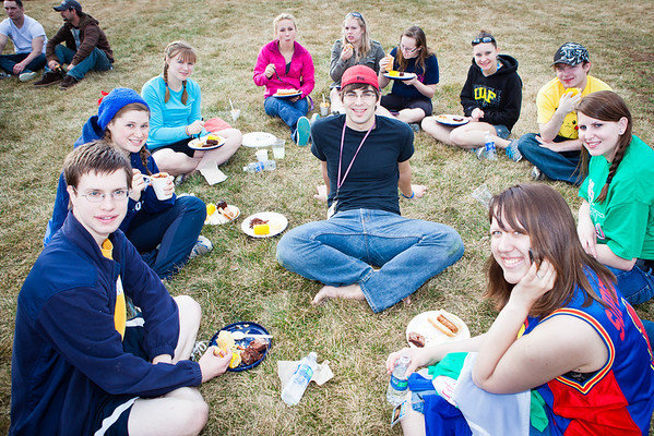 """Students have barbecue dinner at Beluga Field during the last day of the 2012 Spring Fest activities.  <div class=""""ss-paypal-button"""">Filename: LIF-12-3384-85.jpg</div><div class=""""ss-paypal-button-end"""" style=""""""""></div>"""