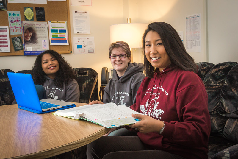 """Undergraduates Kisha Lee, left, Michaela Lockes and Dyane Chung relax after class in the student lounge at UAF's Kuskokwim Campus in Bethel.  <div class=""""ss-paypal-button"""">Filename: LIF-16-4859-161.jpg</div><div class=""""ss-paypal-button-end""""></div>"""