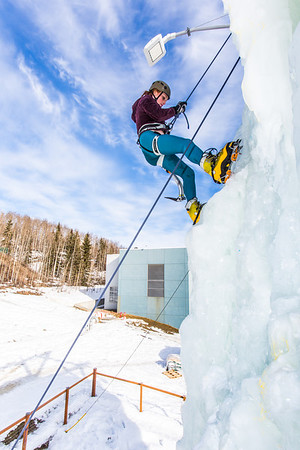 Engineering major Mia Anderson enjoys a late season climb up the UAF ice wall on April 4.  Filename: LIF-14-4132-89.jpg