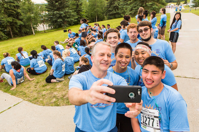 "Senator Dan Sullivan takes a selfie with 2016 Rural Alaska Honors Institute participants before the Midnight Sun Run on campus.  <div class=""ss-paypal-button"">Filename: LIF-16-4918-11.jpg</div><div class=""ss-paypal-button-end""></div>"