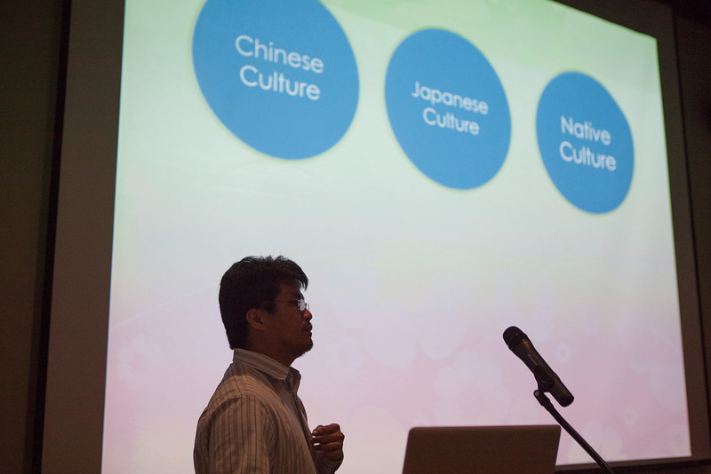 "Alex Hwu from UAF's Center for Distance Education speaks about Taiwanese culture during the Summer Sessions' cultural night kick-off lecture.  <div class=""ss-paypal-button"">Filename: LIF-12-3431-10.jpg</div><div class=""ss-paypal-button-end"" style=""""></div>"