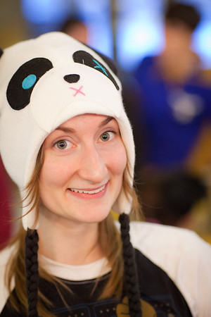 """Art major Elizabeth King wears a panda hat and a big smile during UAF's PopCon event in the Wood Center.  <div class=""""ss-paypal-button"""">Filename: LIF-11-3218-027.jpg</div><div class=""""ss-paypal-button-end"""" style=""""""""></div>"""