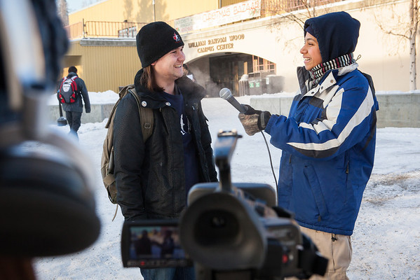 """Ashley Strange interviews David Hogan, left, on his winter advice for new students attending Fairbanks Wednesday, Nov. 7, 2012.  <div class=""""ss-paypal-button"""">Filename: LIF-12-3630-6.jpg</div><div class=""""ss-paypal-button-end"""" style=""""""""></div>"""
