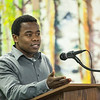 "Bertrand Dushime of Rwandainforms a handful of students, faculty, and community members about his country during a flag dedication ceremony at the Wood Center.  <div class=""ss-paypal-button"">Filename: LIF-12-3655-43.jpg</div><div class=""ss-paypal-button-end"" style=""""></div>"