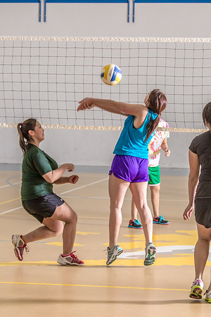 Intramural volleyball action on a Tuesday night at the Student Recreation Center.  Filename: LIF-14-4111-224.jpg