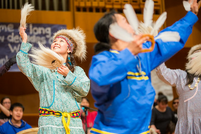 Dancers perform onstage during during the 2014 Festival of Native Arts in the Charles Davis Concert Hall.  Filename: LIF-14-4099-73.jpg