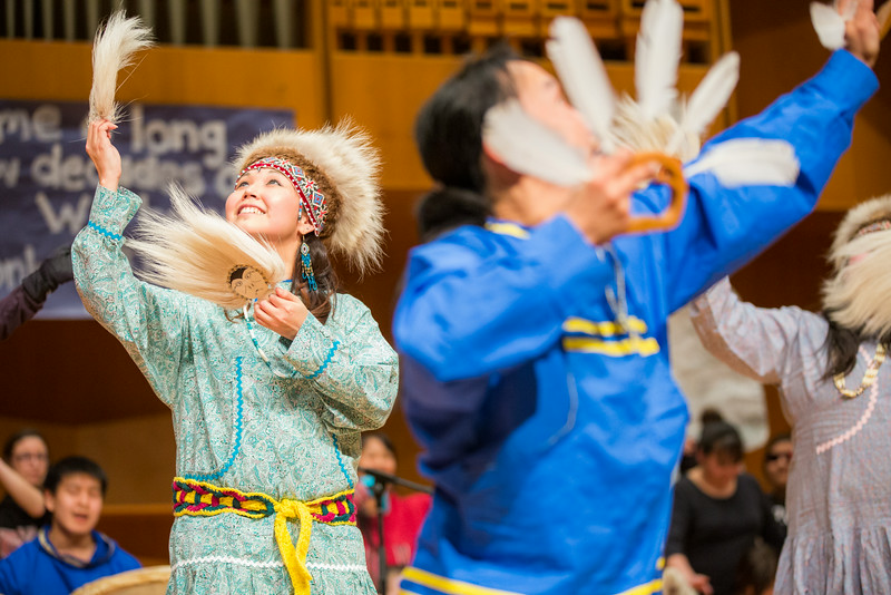 """Dancers perform onstage during during the 2014 Festival of Native Arts in the Charles Davis Concert Hall.  <div class=""""ss-paypal-button"""">Filename: LIF-14-4099-73.jpg</div><div class=""""ss-paypal-button-end""""></div>"""
