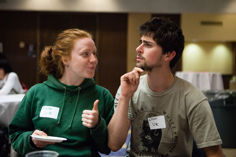 """Kate Wolstenholme, left, and Karl Weitz from the United Kingdom pose for a photo during the International Welcome Mixer Wednesday, July 29, 2012 at the UAF Great Hall, Fine Arts Complex.  <div class=""""ss-paypal-button"""">Filename: LIF-12-3524-22.jpg</div><div class=""""ss-paypal-button-end"""" style=""""""""></div>"""