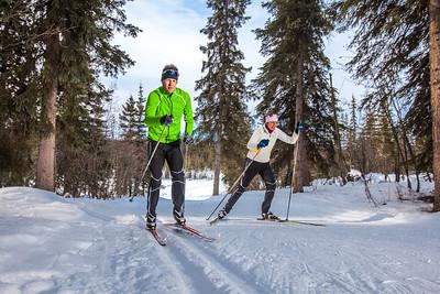 UAF students Ian Wilkinson and Raphaela Sieber enjoy a morning loop around the campus ski trails.  Filename: LIF-12-3348-08.jpg