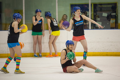 The alternate tournament of ice dodgeball was played instead of the traditional mud volleyball during the 2013 Spring Fest activities.  Filename: LIF-13-3803-36.jpg