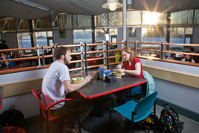 Students enjoy their lunch break in the Lola Tilly Commons.  Filename: LIF-11-3220-125.jpg