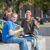 "New students Sean Crawford, left, and Roger Vang catch some sun between classes on the first day of the fall 2012 semester.  <div class=""ss-paypal-button"">Filename: LIF-12-3529-117.jpg</div><div class=""ss-paypal-button-end"" style=""""></div>"